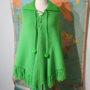 Vintage Lime Poncho. NWT. Perfect condition